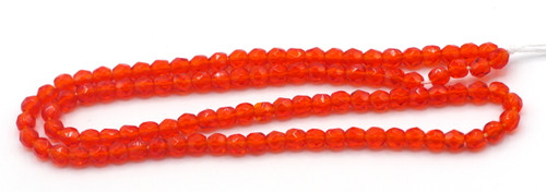 100pc 3mm Czech Fire Polished Faceted Round Beads, Sun