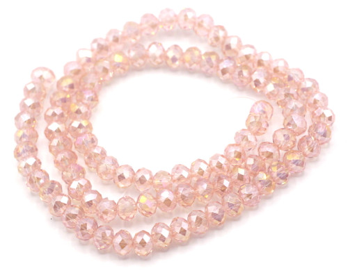 "15"" Strand 6x4mm Crystal Rondelle Beads, Vintage Rose AB"