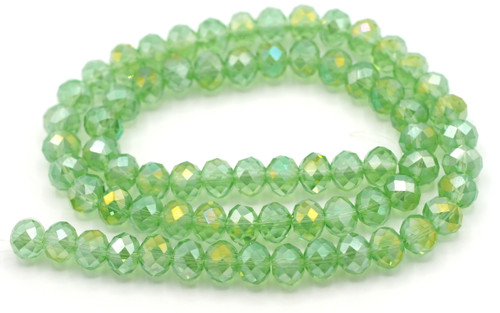 "15"" Strand 8x6mm Crystal Rondelle Beads, Grass Green AB"