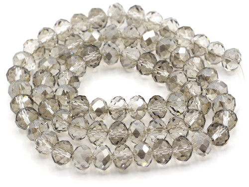 70pc Strand 10x8mm Crystal Rondelle Beads, Silver Shadow