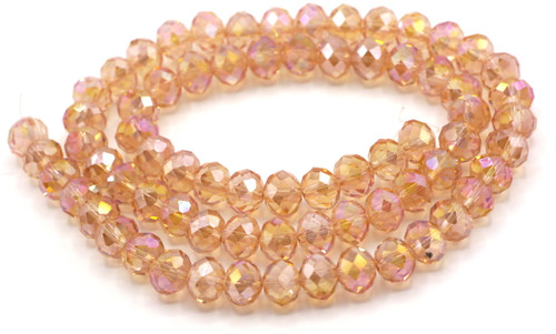 70pc Strand 10x8mm Crystal Rondelle Beads, Vintage Rose AB