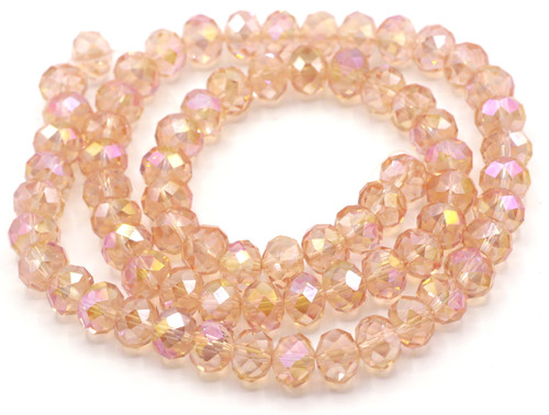 70pc Strand 10x8mm Crystal Rondelle Beads, Rose AB