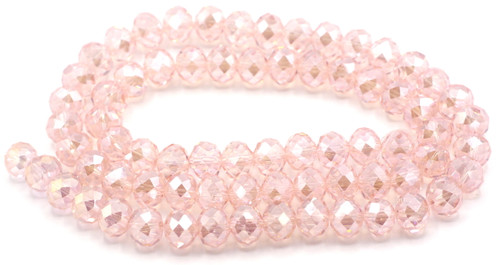70pc Strand 10x8mm Crystal Rondelle Beads, Light Rose AB