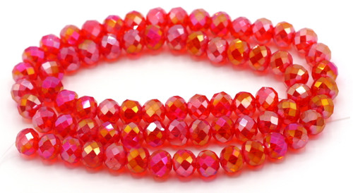 70pc Strand 10x8mm Crystal Rondelle Beads, Ruby Red AB