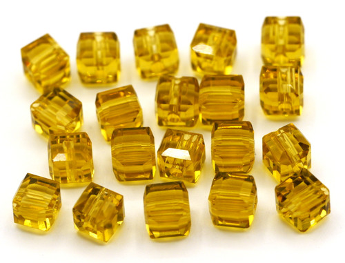20pc 6mm Crystal Cube Beads, Topaz