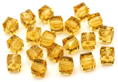 20pc 6mm Crystal Cube Beads, Pale Topaz