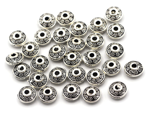 30pc 6.5x3mm Fancy Rondelle Spacer Beads, Antique Silver Finish