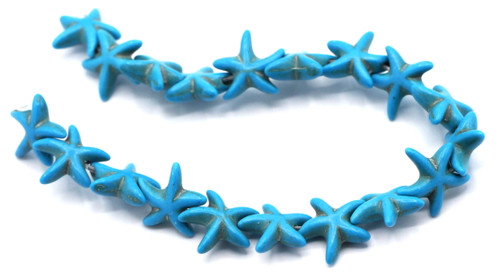 "8"" Strand 15x13mm Synthetic Turquoise Starfish Beads"