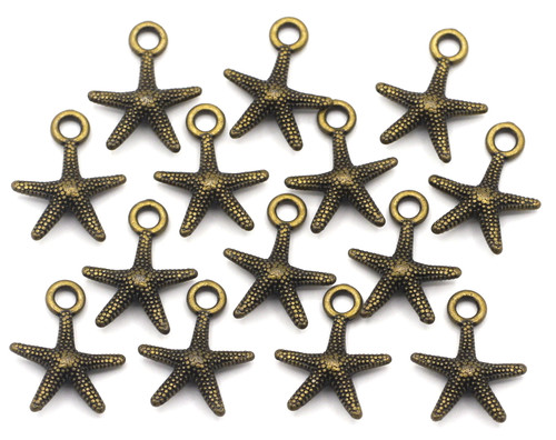 14pc 15.5mm Starfish Charms, Antique Bronze Finish