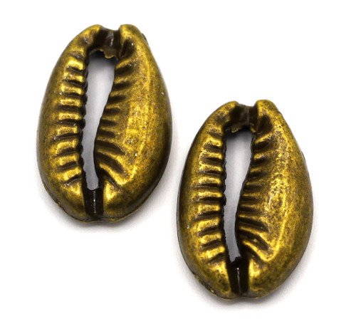 2pc 19x12mm Shell Charms, Antique Bronze Finish