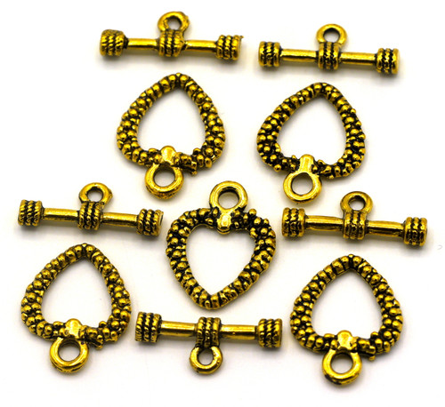 5 Sets 19x20mm Bumpy Heart Toggle Clasp, Antique Golden Finish