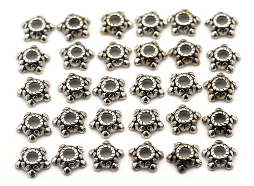 30pc 6mm Bumpy Star Bead Cap, Antique Silver Finish