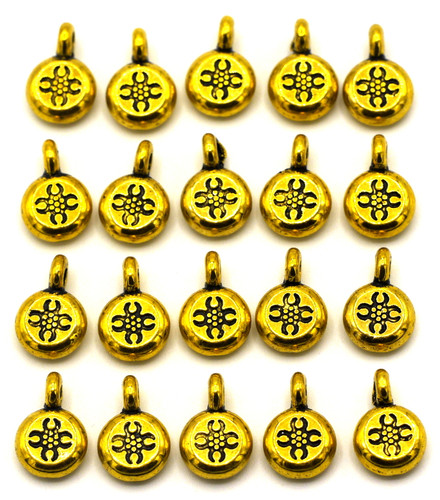 20pc 12x8mm Medallion Drops, Antique Gold Finish