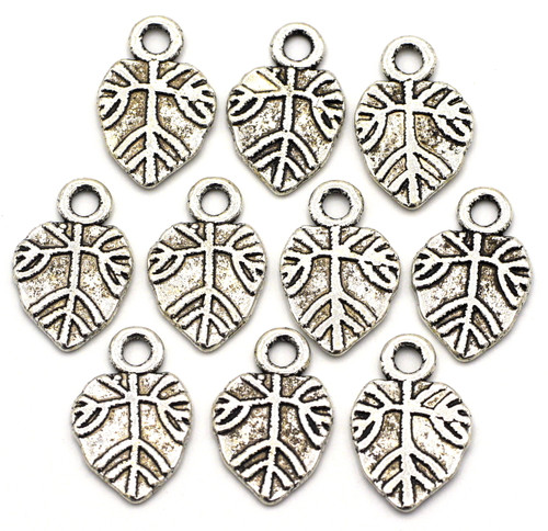 10pc 18x11mm Leaf Charms, Antique Silver Finish