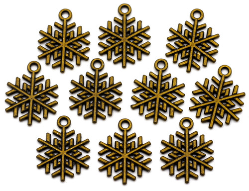 10pc 20x15.5mm Snowflake Charms, Antique Bronze Finish