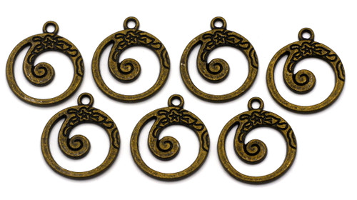 7pc 20.5x18mm Floral Swirl Drops, Antique Bronze Finish