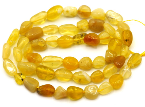 "15"" Strand Approx 5-10mm Honey Opal Pebble Beads"