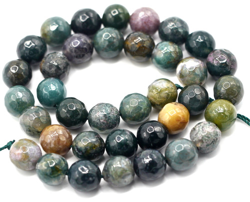 "15"" Strand 10mm Faceted Indian Agate Round Beads"