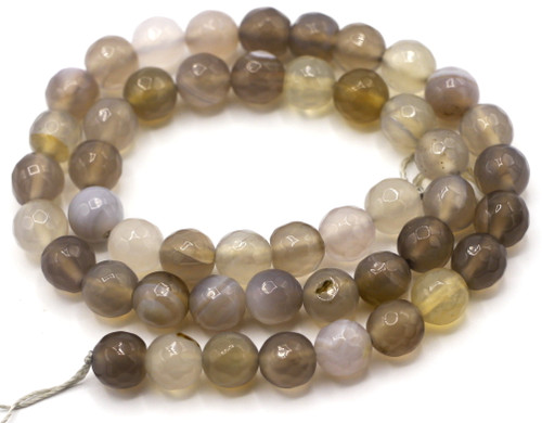 "15"" Strand Natural 8mm Gray Agate Faceted Round Beads"