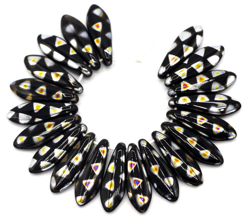 20pc 5x16mm Czech Glass Black with Marea Triangles Spear Beads