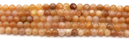 "7.5"" Strand 6mm Peach Sunstone & Moonstone Round Beads"
