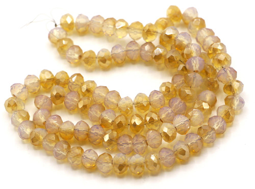 """17"""" Strand 6x4mm Crystal Rondelle Beads, Peach Champagne Opal"""