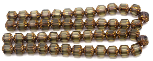 25pc 8mm Czech Faceted Cathedral Beads, Grey & Gold