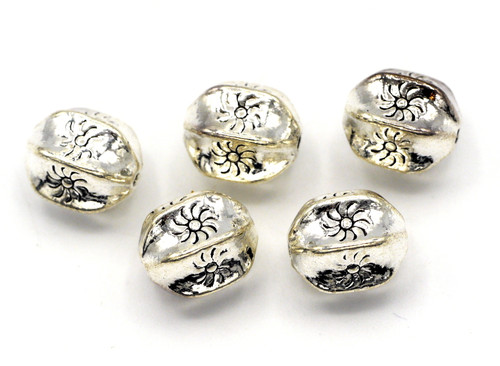 5pc 11x9mm Embossed Fluted Barrel Beads, Antique Silver