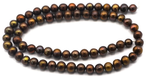 "SAVE 80%-- 15"" Strand Approx 7mm Freshwater Pearl Semi-Round Beads, Chocolate"