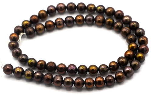 "SAVE 80%-- 15"" Strand Approx 7-8mm Freshwater Pearl Semi-Round Beads, Deep Chocolate"