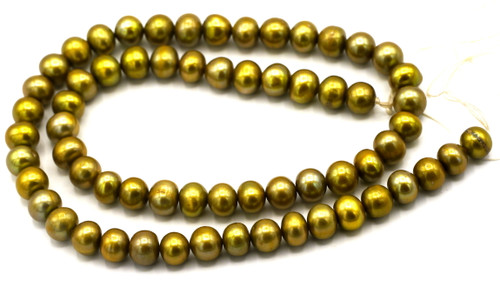 """SAVE 80%-- 15"""" Strand Approx 7-8mm Freshwater Pearl Semi-Round Beads, Spring Green"""