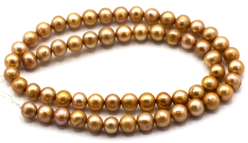 "SAVE 80%-- 15"" Strand Approx 7-8mm Freshwater Pearl Semi-Round Beads, Light Mocha"