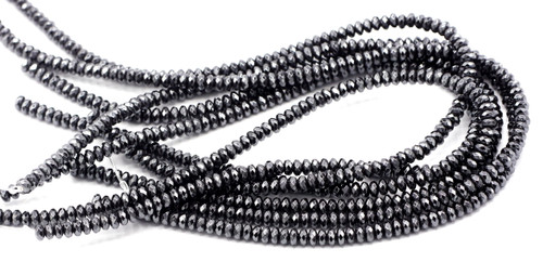 "15"" Strand 6x3mm Faceted Synthetic Hematite Rondelle Beads"
