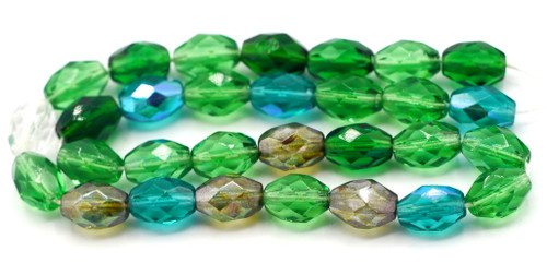 30pc 9x7mm Czech Glass Fire Polished Faceted Oval Beads, Emerald Mix