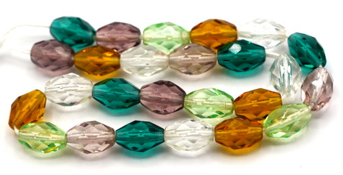 25pc 10x7mm Czech Glass Fire Polished Faceted Oval Beads, Vintage Mix