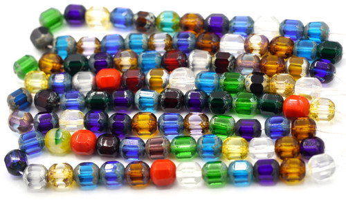 25pc 8mm Czech Glass Faceted Tube, Bright Mix