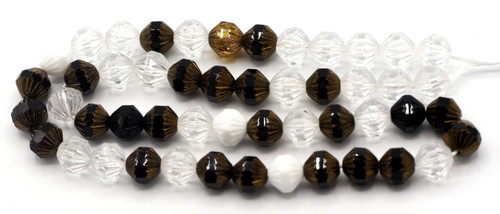 50pc 9mm Czech Faceted Fluted Center Bicones, Classy Mix