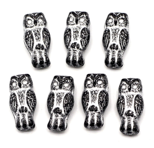 7pc 7x15mm Czech Pressed Glass Owl Beads, Black With Silver Inlay