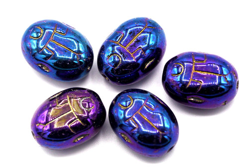 5pc 10x14mm Czech Pressed Glass Scarab Beads, Blue Iris