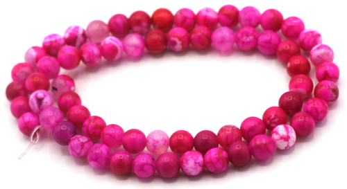"15.5"" Strand Approx 6mm Agate Round Beads, Pink Crackle"