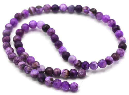 "15.5"" Strand Approx 6mm Agate Round Beads, Violet Crackle"