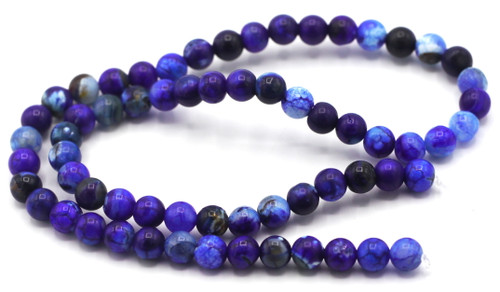 "15.5"" Strand Approx 6mm Agate Round Beads, Denim Crackle"
