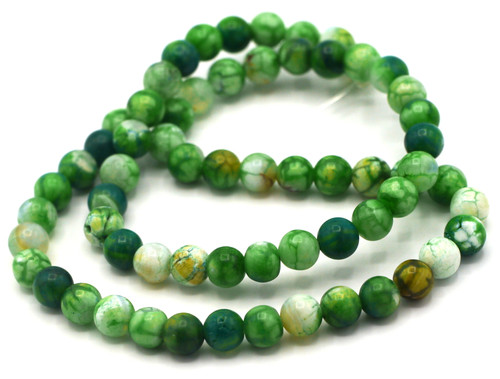 "15.5"" Strand Approx 6mm Agate Round Beads, Lime Crackle"