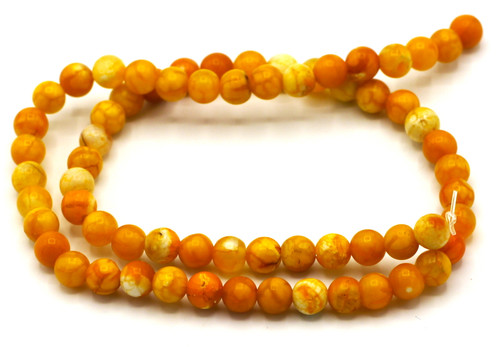 "15.5"" Strand Approx 6mm Agate Round Beads, Mango Crackle"