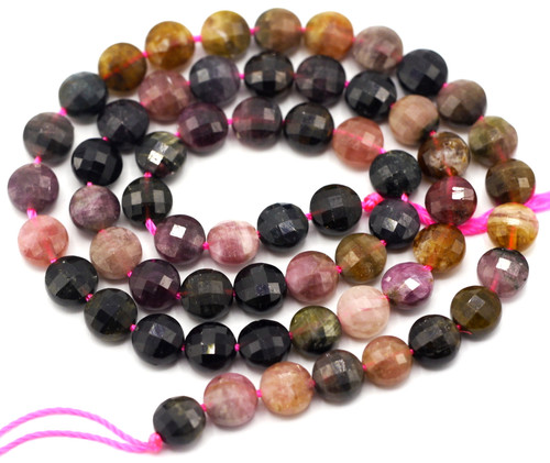 "15.5"" Strand Approx 6x4mm Tourmaline Faceted Coin Beads"