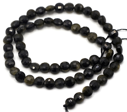 "15.5"" Strand Approx 6x4mm Golden Sheen Obsidian Faceted Coin Beads"