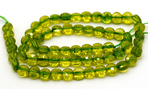 "15.5"" Strand Approx 6x4mm Crackle Quartz Faceted Coin Beads, Peridot Green"