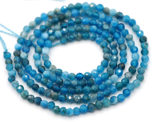 "14.9"" Strand Approx 2mm Apatite Faceted Round Beads"
