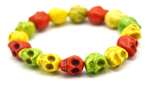16pc 12mm Magnesite Skull Beads, Autumn Mix