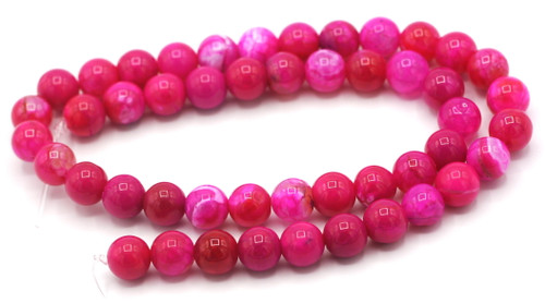 "15.5"" Strand Approx 8mm Agate Round Beads, Pink Crackle"